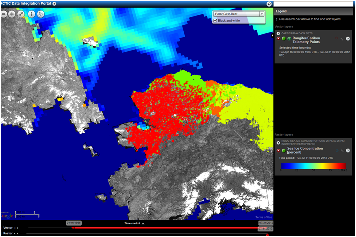 The STAMP tool is in its early stages, and will incorporate priorities identified during the scoping process.  This screen shot shows remotely-sensed sea ice concentration, and caribou range derived from collared animals.