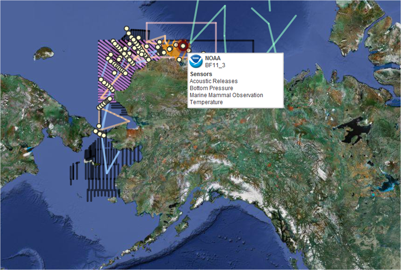 This screen shot of the Arctic Research Assets map shows station locations and monitoring transects. By scrolling over the map, the viewer can learn more about the specifics of each instrument or transect.
