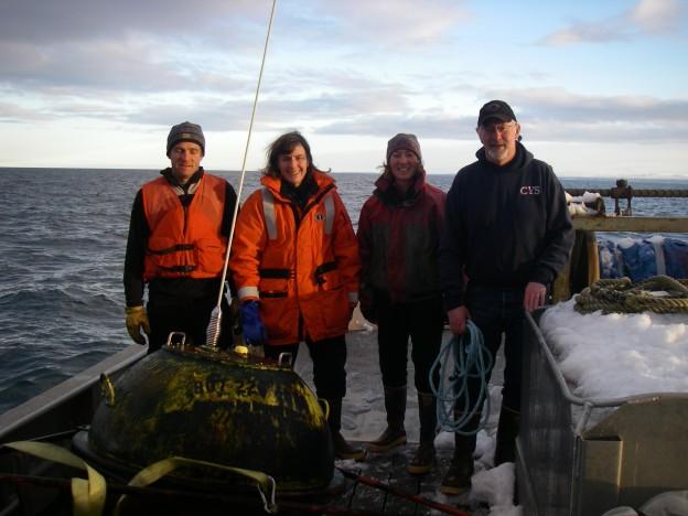 Tim Blackmon (KBRR), Kris Holderied (NOAA), Jasmine Maurer (KBRR) and Sid Wolford (boat captain)