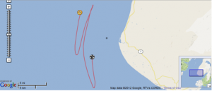 Follow the buoy's path from where it was tethered (black star) to where it was rescued (the yellow dot)